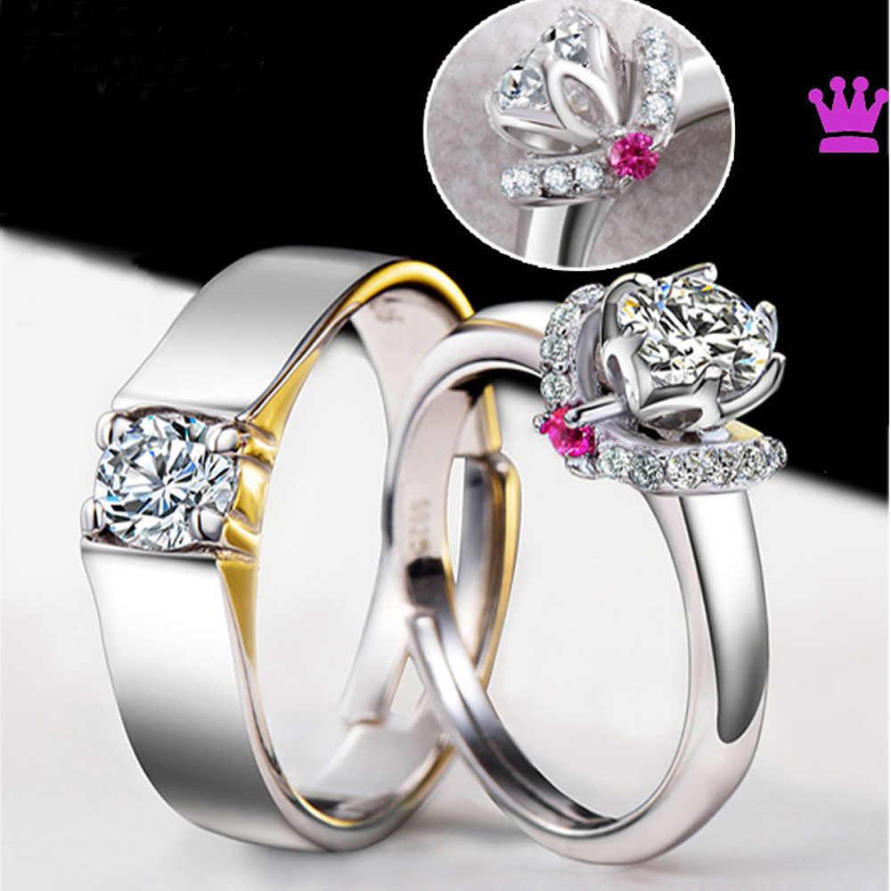 2 Pcs/pair קלאסי resizeable זוג חתונה אירוסין טבעות קריסטל מתכוונן טבעות ולנטיין יום מתנה סיטונאי CZ טבעות