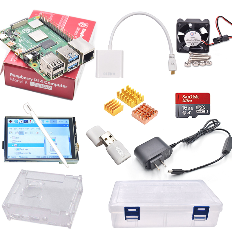 2019 Original Raspberry Pi 4 Model B PI 4B 2GB/4GB Kit: Touchscreen+Power Adapter+Case+16GB SD+Heatsink+plastic box+HDMI Cable