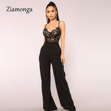 Ziamonga Высокое качество Черный Красный v-образный вырез облегающий кружевной бандажный комбинезон вечерняя Вечеринка Облегающий комбинезон женские комбинезоны