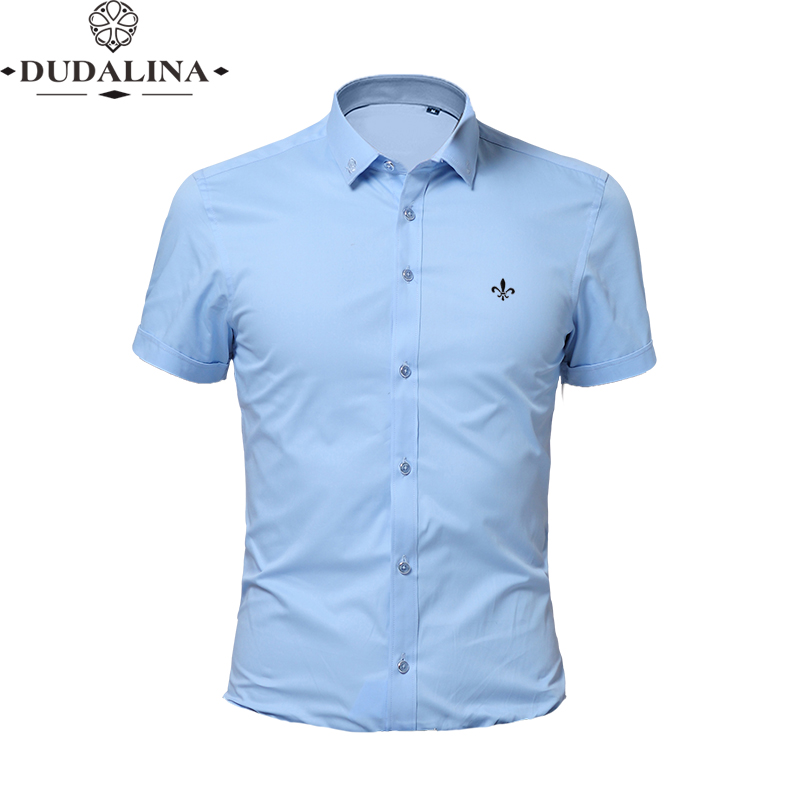 Embroidery Fashion Blusa Camisa Social Masculina Dudalina Short Sleeve Slim Fit Shirt Men Floral Clothing White Male