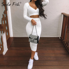 2020 Sexy Two Piece SetsV-Neck Long Sleeve Crop Top Knitted Long Skirt Party Wom