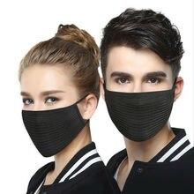 2pcs Breathable Mask Black Unisex Anti-dust Anti-Fog Face Mouth Mask Respirator Washable Outdoor Isolation Masks Cotton Yarn
