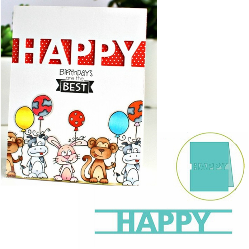 HAPPY Word Frame Metal Cutting Dies Stencils HAPPY Word Frame Die Cuts For Card Making Decoration New 2019