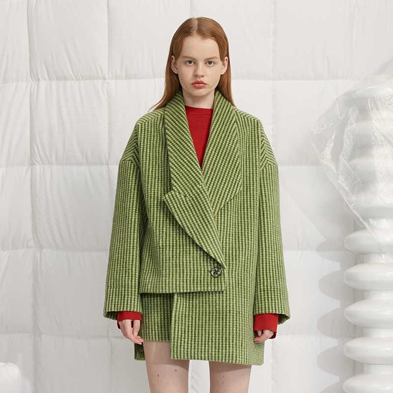 [EAM] Женская шерстяная мини-юбка в зеленую клетку с завышенной талией, Новинка весна-осень 2019 1H653