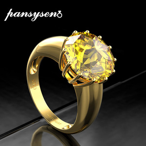 Image 1 - PANSYSEN 12mm Round Natural Citrine Rings For Women Solid 925 Sterling Silver Jewelry Party Ring Female New Fashion Fine Jewelry