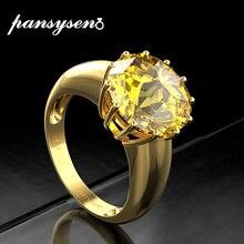 PANSYSEN Anillos redondos de citrino Natural para mujer, joyería de plata sólida 925, anillo de fiesta, joyería fina, 12mm