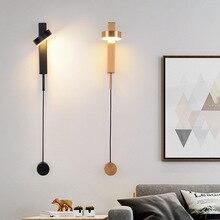 Pós moderno ferro ouro/preto conduziu a lâmpada de parede nordic sala estar decoração do quarto luzes de cabeceira escadas corredor varanda luminária