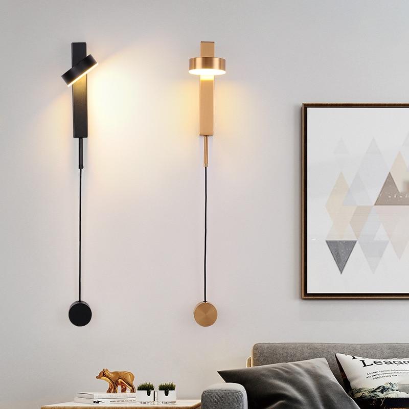 pos moderno ferro ouro preto conduziu a lampada de parede nordic sala estar decoracao do quarto