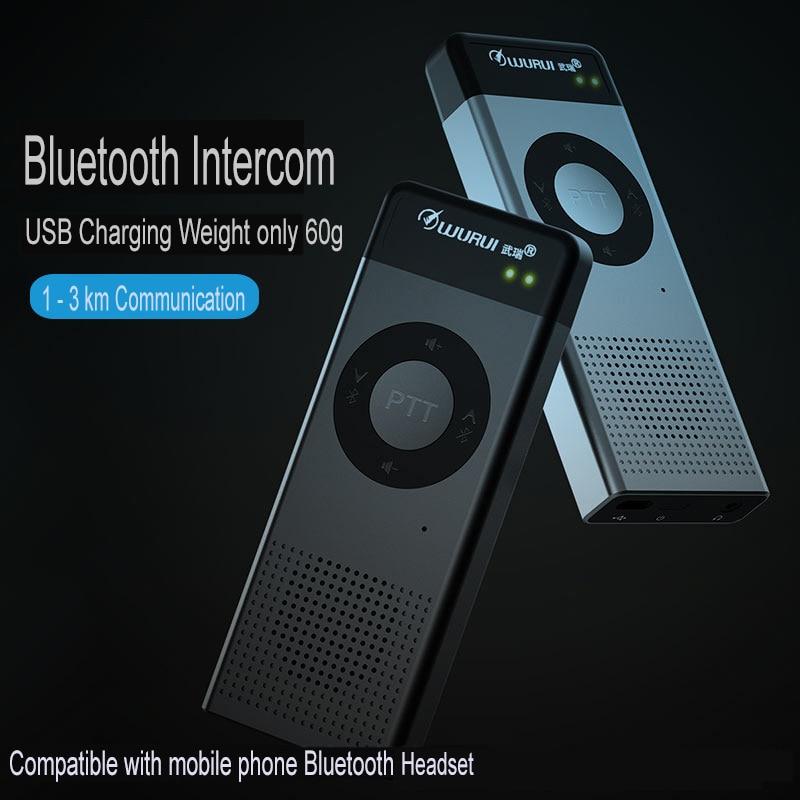 2pcs Portable Wireless Bluetooth Headset Intercom Walkie-Talkie Profesisonal UHF 400-470MHz Radio Walkie Talkie Mini 2 Way Radio