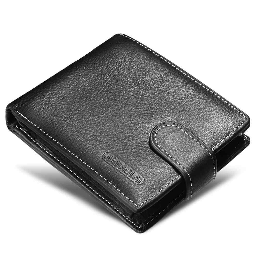 Fashion Genuine Leather Short Men Wallets Solid Sample Style Zipper Purse Man Card Horder Leather High Quality Male Wallet Purse