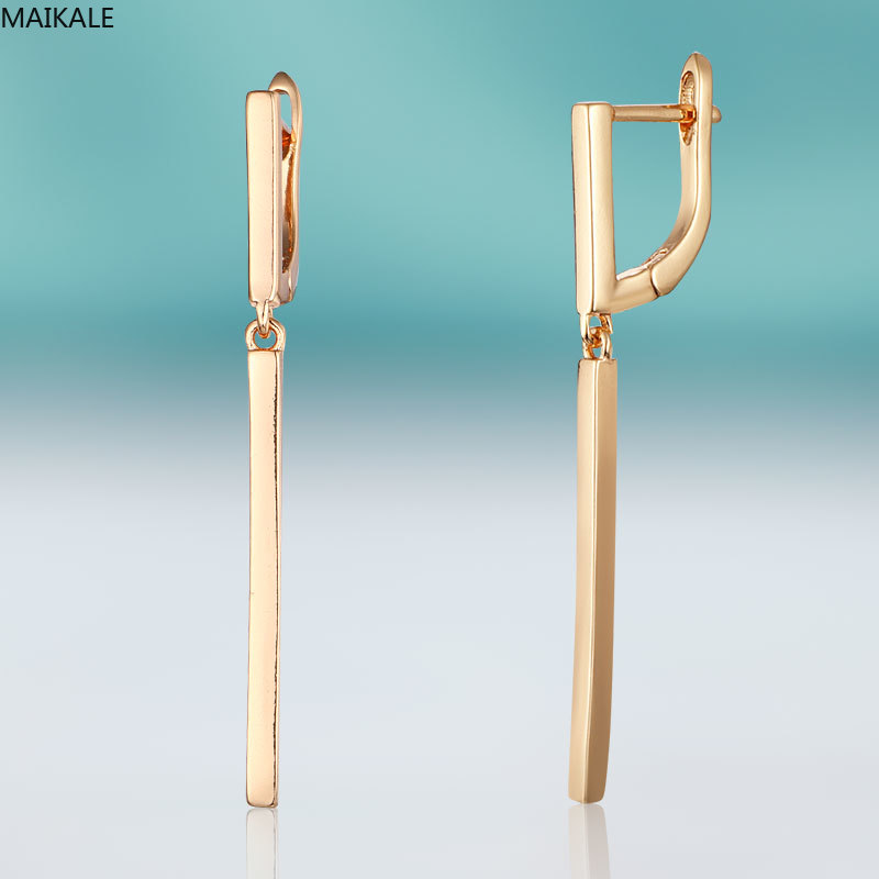 MAIKALE Classic Geometric Dangle Earrings For Women Copper Gold Earrings Simple Fashion Exquisite Jewelry Wedding Party For Gift