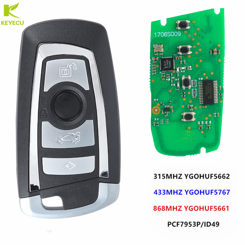 KEYECU 2017 Keyless Entry Car Remote Key Fob 4 Button 315MHz/433MHz/868MHz PCF7953/49 Chip For BMW F Series FEM / BDC CAS4 CAS4+
