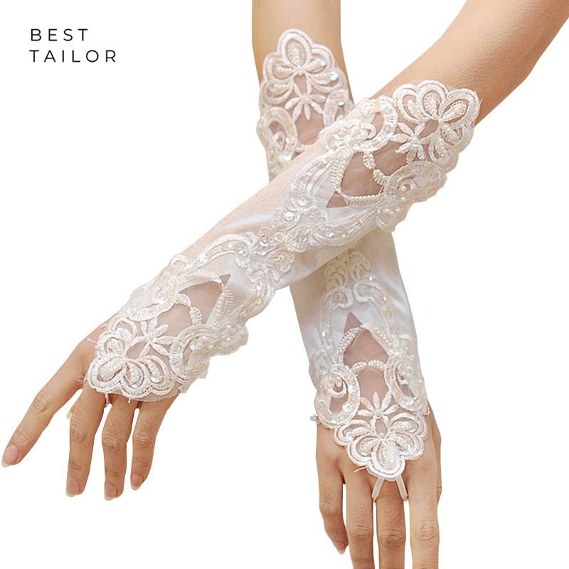 Wedding Bridal Hand Gloves Fingerless Ivory White Red Pearls Beads Long Cuffs Wedding Accessories Mariage Gant Mariage Femme