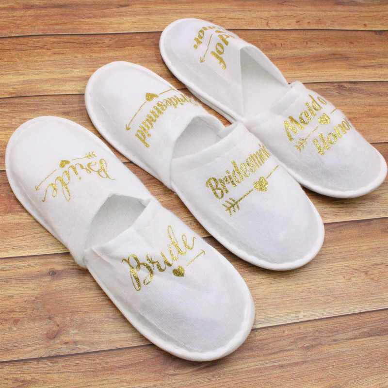 Disposable เจ้าสาวเจ้าสาวเจ้าสาวรองเท้าแตะ Bachelorette PARTY เจ้าสาวเผ่าเจ้าสาวฝักบัวสปา Hen PARTY งานแต่งงานตกแต่ง