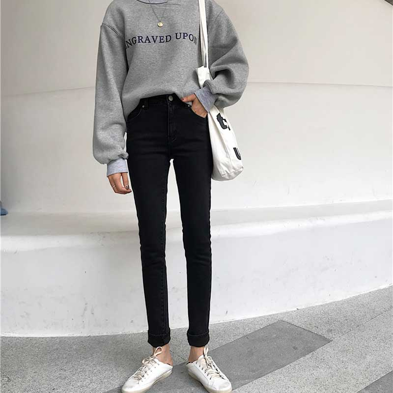 Autumn Plus Velvet Thickening Jeans Female Winter Korea New High Waist Stretch Thin Slim Versatile Jeans Women's Trousers Tide