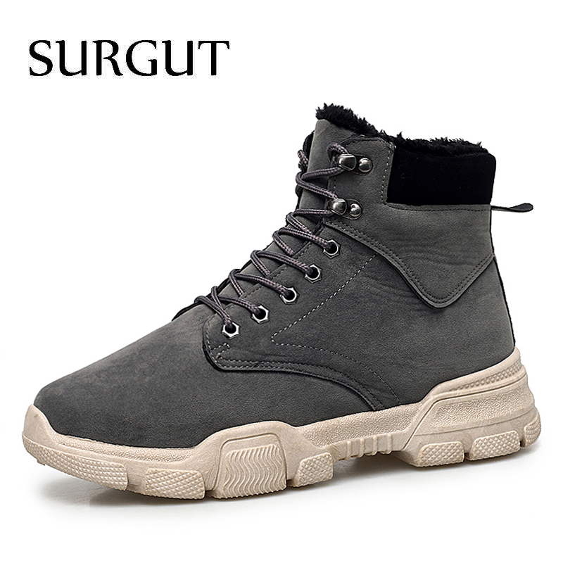SURGUT Men's Boots Lace-Up Casual-Shoes Snow Autumn Waterproof Winter Fashion Warm Man