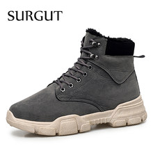 SURGUT Winter mannen Laarzen Mannelijke Waterdichte Enkellaarsjes Herfst Man Mode Casual Schoenen Sneeuw Warm Lace Up Laarzen Plus maat 39-45(China)