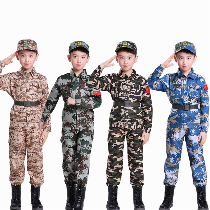 Boys Military Training Uniforms Children Combat Tactical Camouflage Summer Camp Party Costumes Kids Halloween Army Suits