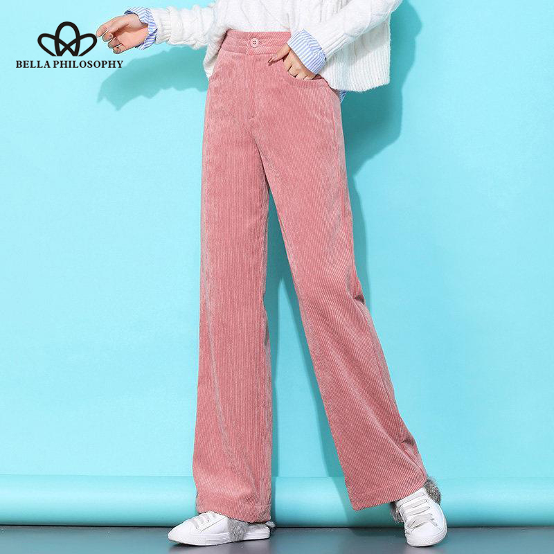 Bella Philosophy 2019 Autumn Winter Women Elegant Pants Corduroy Ladies Wide Leg Soild Female Casual High Waist Pants Leggings