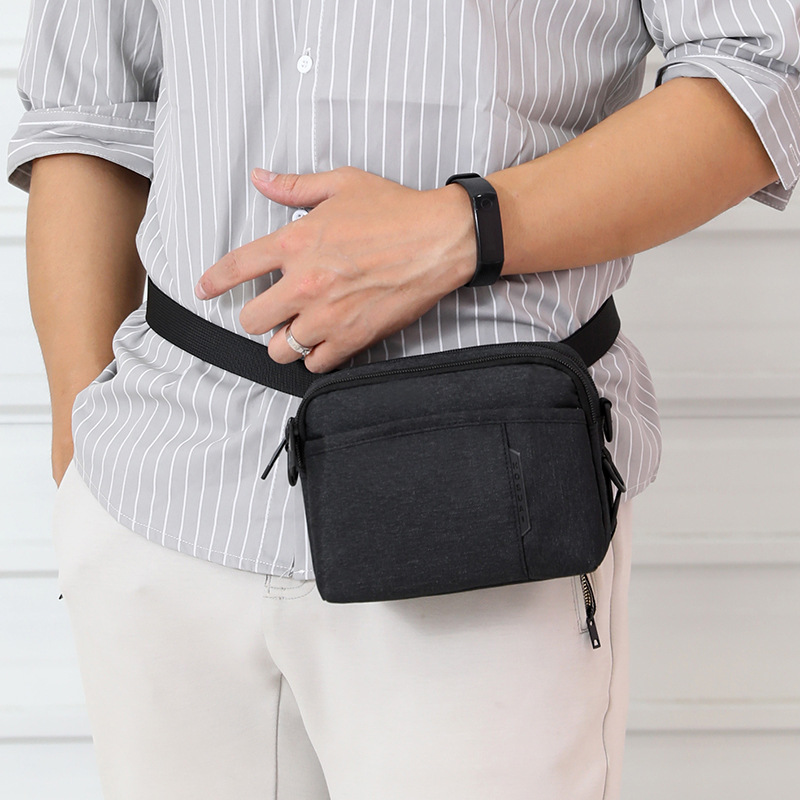 Hot Selling MEN'S Single-shoulder Bag Casual Lightweight Fashion Nylon Cloth Shoulder Bag Trend Versatile Sports Small Waist Pac