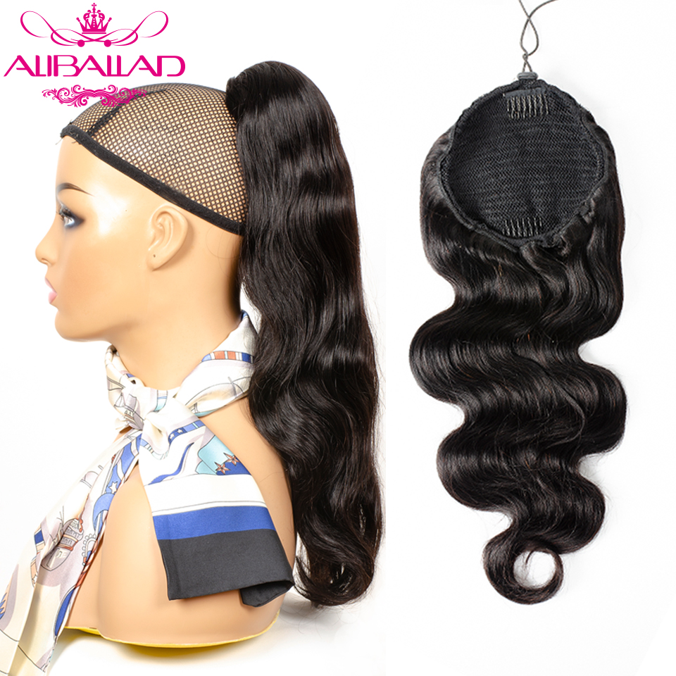 Body Wave Drawstring Ponytail Human Hair Extensions Brazilian Clip Ins For Women Remy Aliballad Ponytail