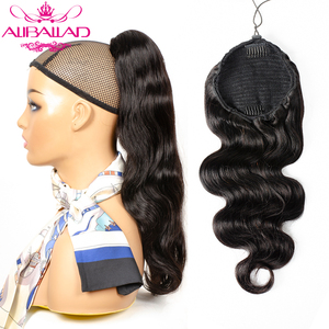 Body Wave Wrap Around Drawstring Ponytail Human Hair Extensions Brazilian Clip Ins For Women Remy Aliballad Ponytail