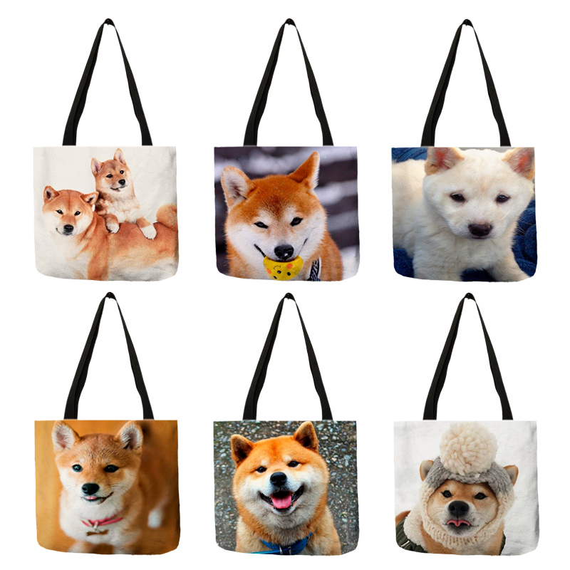 Cute Funny Shiba Dog Print Shoulder Bags Women Casual Handbags Tote Bag Linen Durable Reusable Shopping Diaper Bags