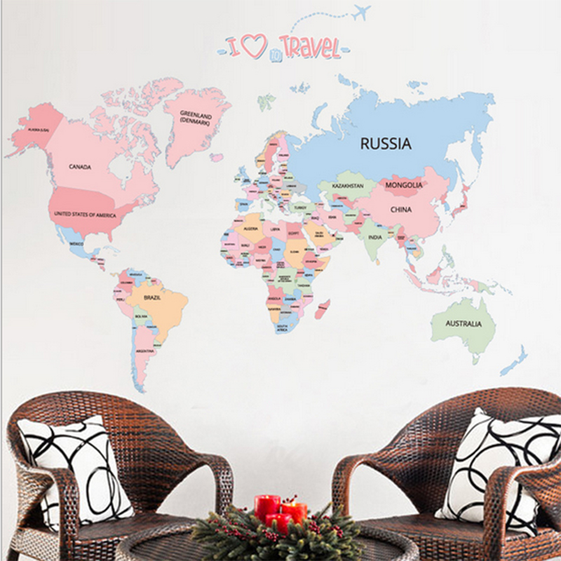 Colorful Wall Stickers World Travel Map Decor Sticker Wall Decals For Kids Rooms Educational Children Map Classroom Letter Baby