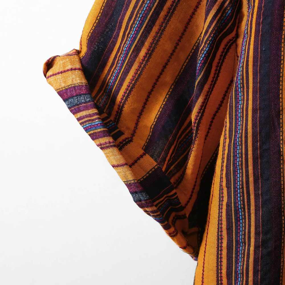 Streifen Männer Shirt Kurzarm 2020 Sommer Casual Stehkragen Bunte Mode Druck Hemd Männlichen Baumwolle Strand Hawaiian Shirts