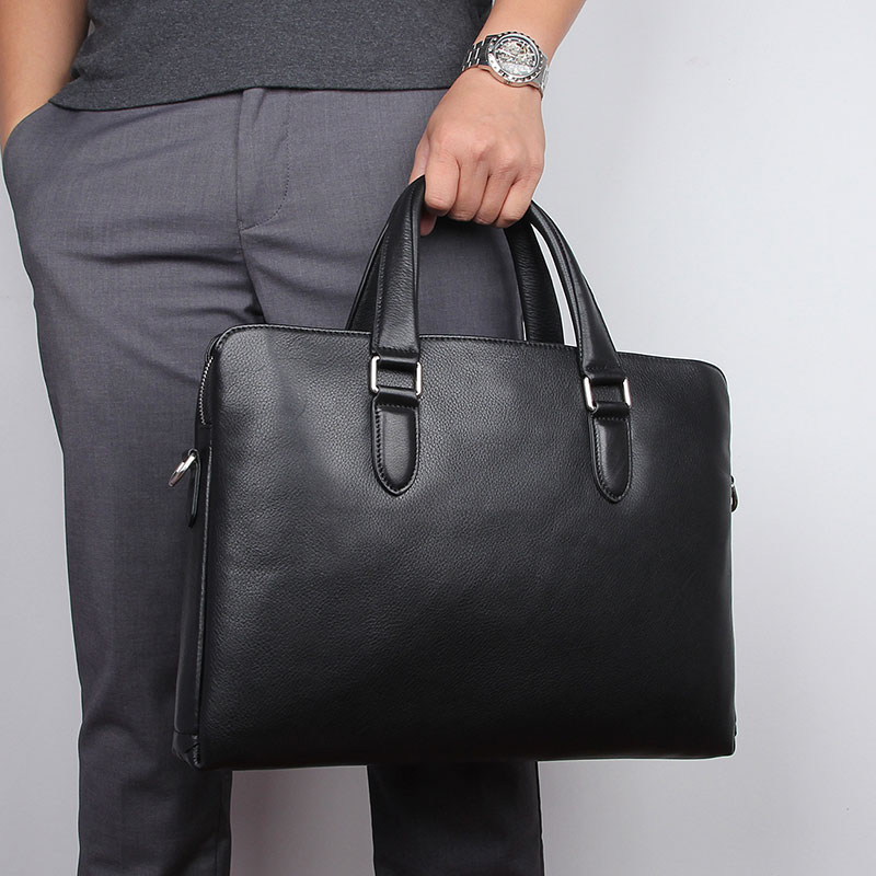 Men's Briefcase Genuine Leather Black Travel Business Hand Bags 14