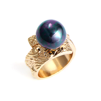 Anillos de dedo de estilo étnico Hawaii polinesio para Mujeres Hombres anillo con perla de imitación gris regalo de joyería talla 8 12 K6102