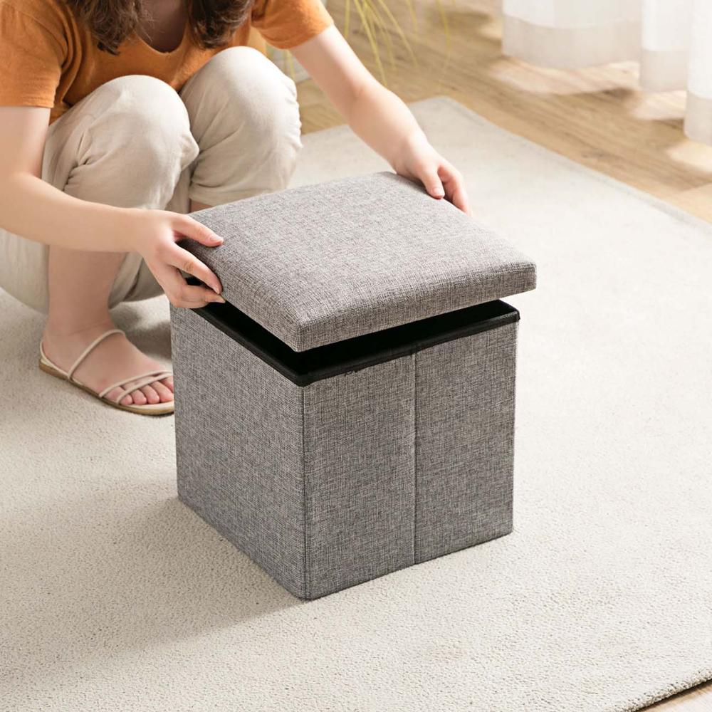 Flax Sittable Storage Box Folding Cloth Storage Bench Household Storage Box Change Shoe Bench Sofa Stool With Cover