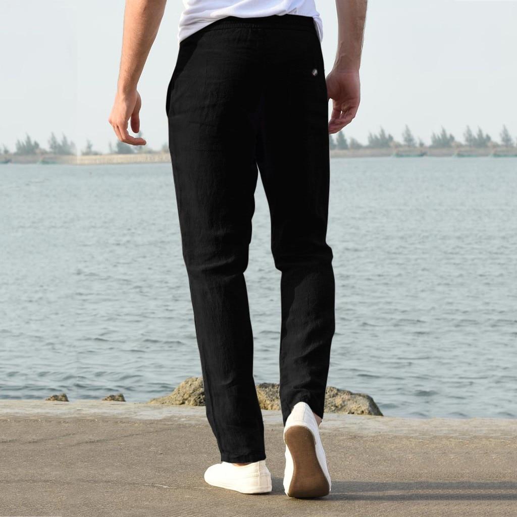 Hcf8b7c70edb24832b40a0102214f769cf Feitong Fashion Cotton Linen Pants Men Casual Work Solid White Elastic Waist Streetwear Long Pants Trousers