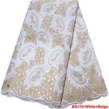 Gold Lace Nigeria Fabric Hand-Cut Swiss In-Switzerland White Rhinestones with for Garment