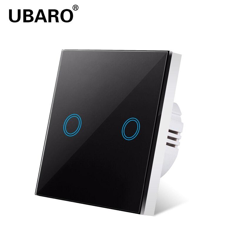Interrupteur tactile UBARO norme ue/royaume-uni commutateurs sensibles en verre cristal trempé interrupteur Led mural Ac100-240v 1/2/3Gang