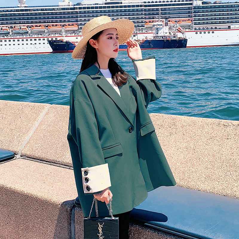 Fashionable Temperament Large Size Women's Blazer Autumn New Casual Solid Color Loose Ladies Jacket 2019 Female Office Suit