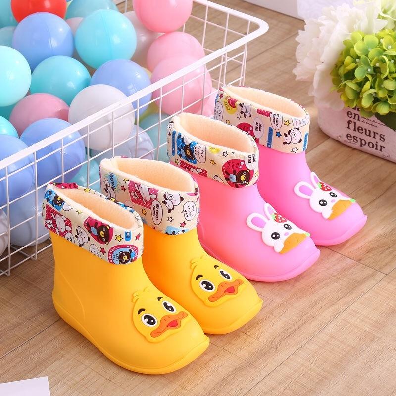 Classic Children's Shoes PVC Rubber Kids Baby Cartoon Shoes Water Shoes Waterproof Rain Boots Toddler Girl Rainboots