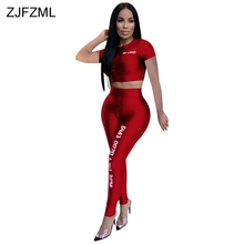 Women Fitness Sporting Two Piece Set Letter Print Club Outfit Short Sleeve Crop