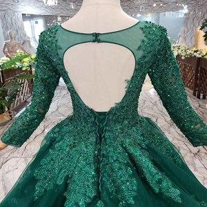 Image 5 - HTL257 зеленые дешевые вечерние платья 2020 с поездом Индивидуальный размер o образным вырезом с длинными рукавами а силуэта для матери невесты