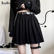 InsGoth Black Pleated Mini Skirts Women Harajuku Grunge High Waist Sexy Short