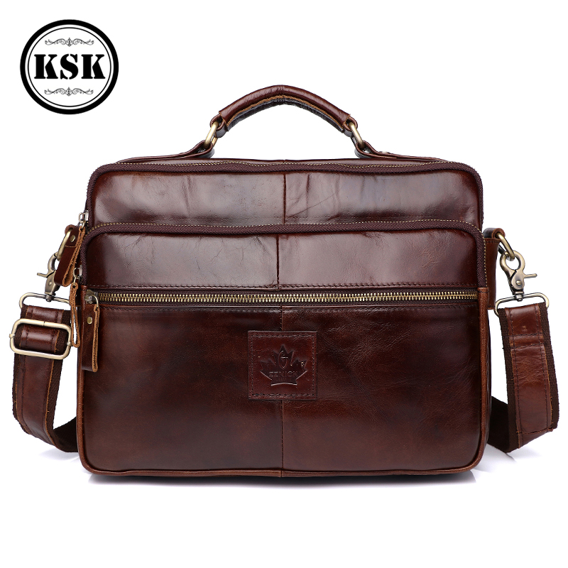 Men's Shoulder Bag Genuine Leather Bag Office Bags For Men Briefcase Luxury Handbag 2019 Fashion Messenger Bags For Men KSK