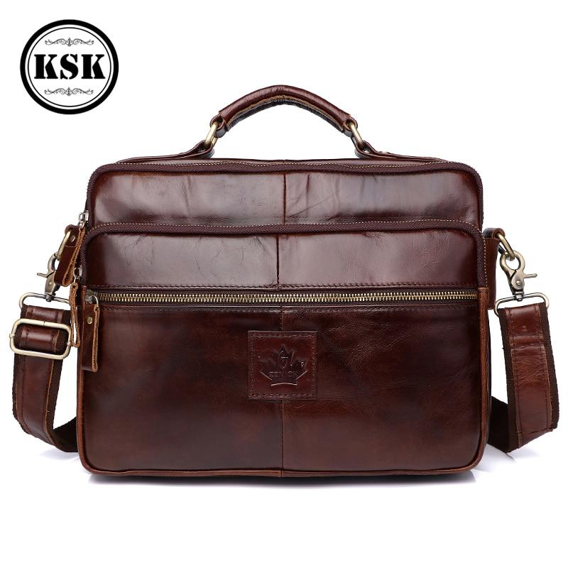 Men's Shoulder Bag Genuine Leather Bag Office Bags For Men Briefcase Luxury Handbag 2019 Fashion Messenger Bags For Men KSK