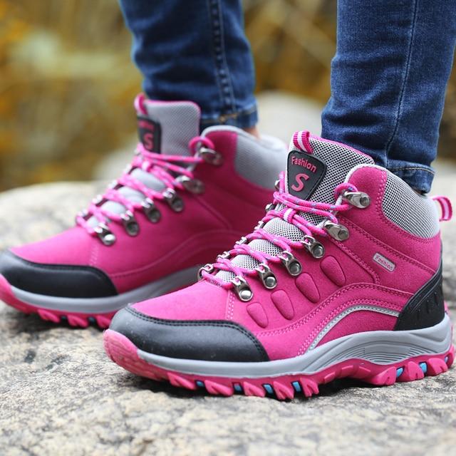 POLALI Winter High Top Women Hiking Waterproof Trekking Boots Mountain Climbing Shoes Sports Rubber Sole Shoes Nubuck Men Couple