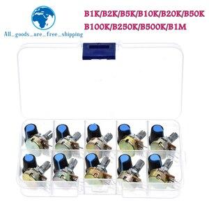 WH148 Potentiometer Kit B1K 2K 5K 10K 20K 50K 100K 500K 1M 15mm Linear Taper Rotary Potentiometer Resistor Set 3pin With Cap
