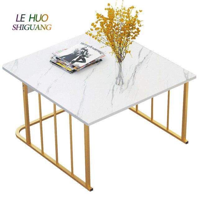 Table basse en marbre modèle lumière luxe blanc noir or Table à thé en bois en acier canapé Table d'appoint carré Rectangle dessus en marbre Table basse avec tiroirs pour meubles de salon