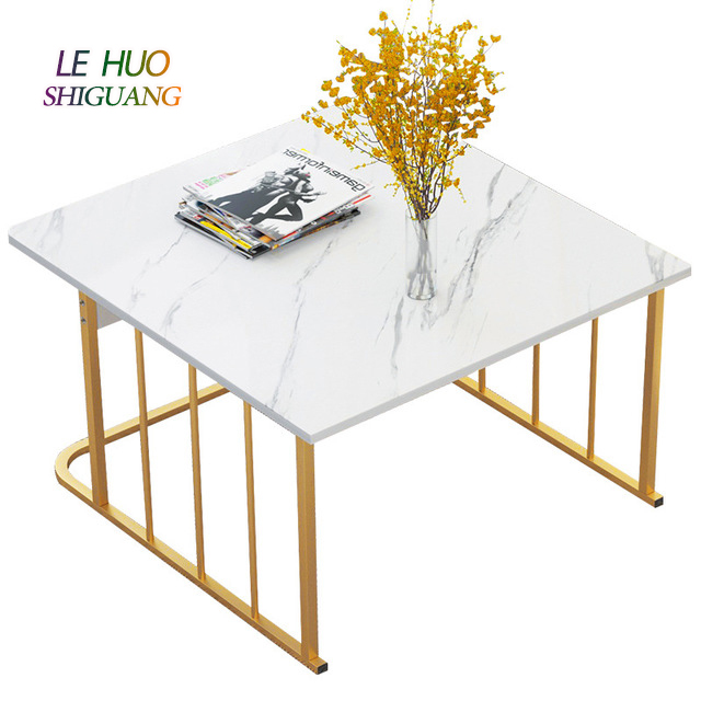 Marble Pattern Coffee Table Light Luxury White Black Gold Tea Table Wooden Steel Sofa Side Table Square Rectangle Marble Top Coffee Table With Drawers For Living Room Furniture