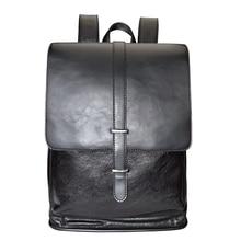 External USB Charge Waterproof leather Backpack Male 14 Inch PU Laptop Backpack Business Leather Bookbag Mochila Masculina