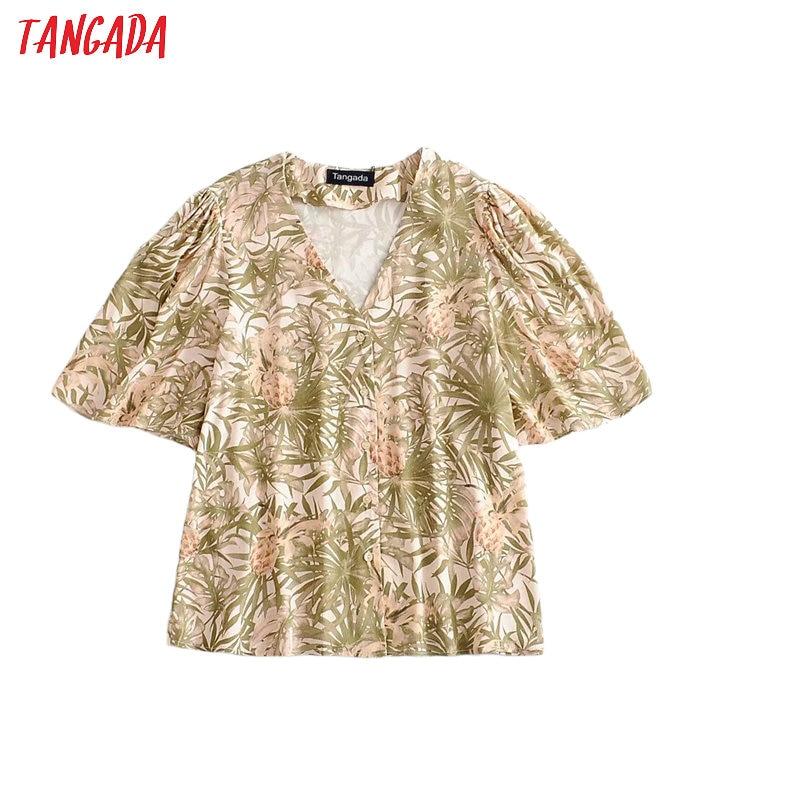 Tangada Women Retro Print Loose Shirt Summer Blouse Ruffles Short Sleeve Chic Female Tops 3A25