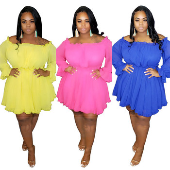 Mirsicas Solid Off Shoulder Long Sleeve Plus Size Women Flare Dress