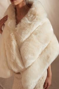 Image 5 - 2019 Women Bolero Bridal Shawl Faux Fur Wrap Bolero Wedding Cape Bridal Shawl Fur Cape 2018 Winter Ivory Bridal Cloak Bolero